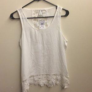 Sheer White Sleeveless Flower Knit Border Blouse